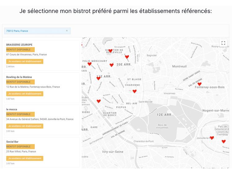 Carte pour retrouver le bistrot le plus proche et le soutenir - jaimemonbistrot.fr