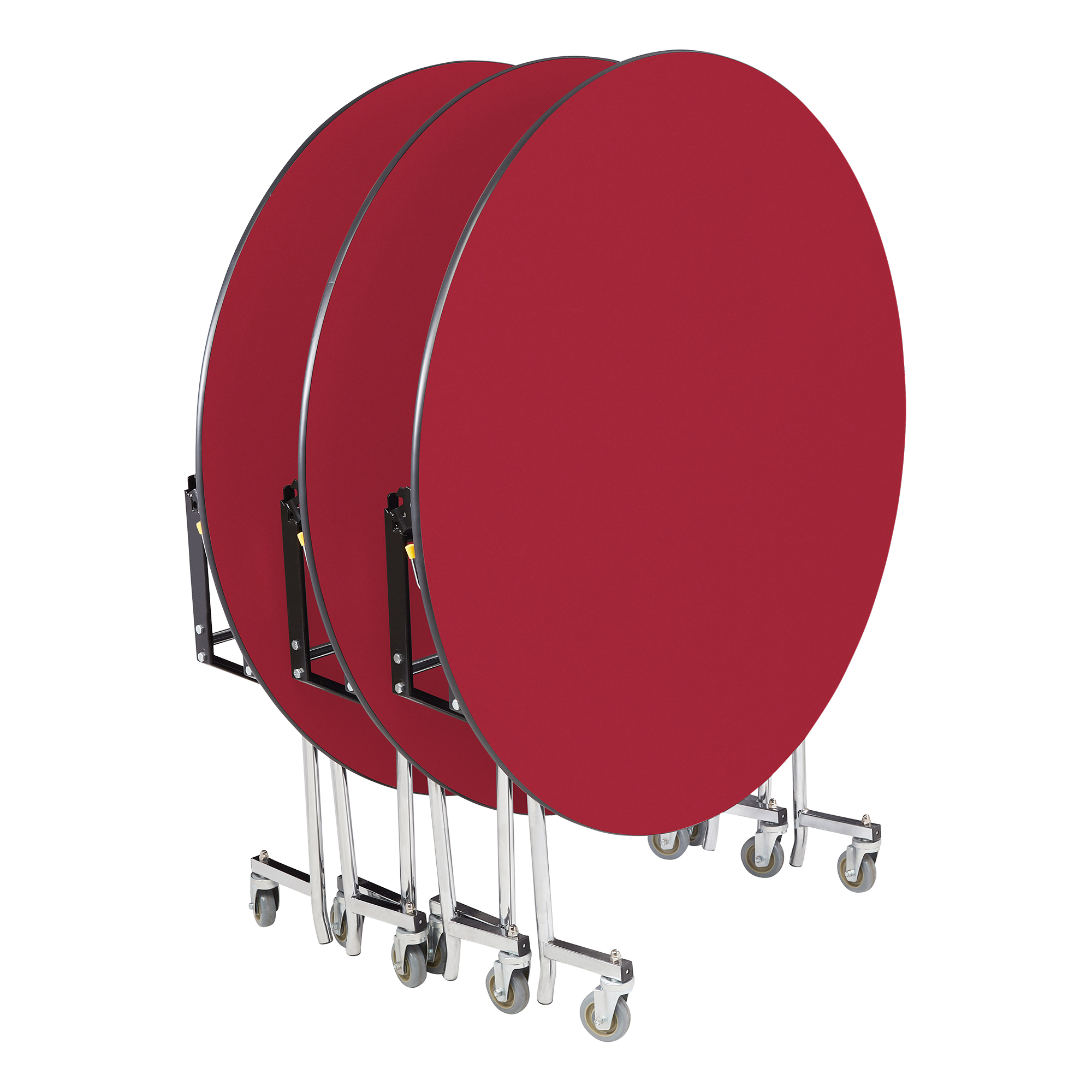 medium resolution of easy fold mobile round nesting cafeteria table red nested