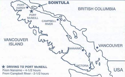 Vancouver Island map with Sointula marked