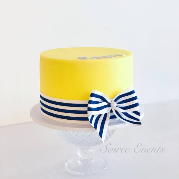 yellow and navy cake