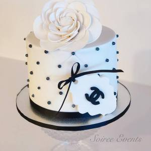 black and white quilted chanel cake
