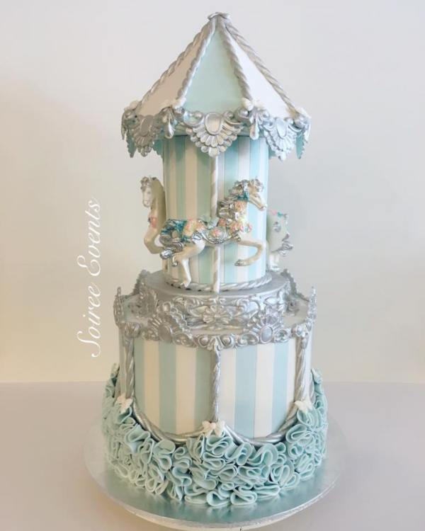 blue and silver carousel cake