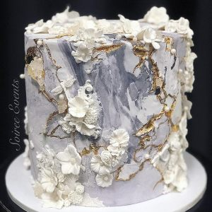 textured marble bas relief cake