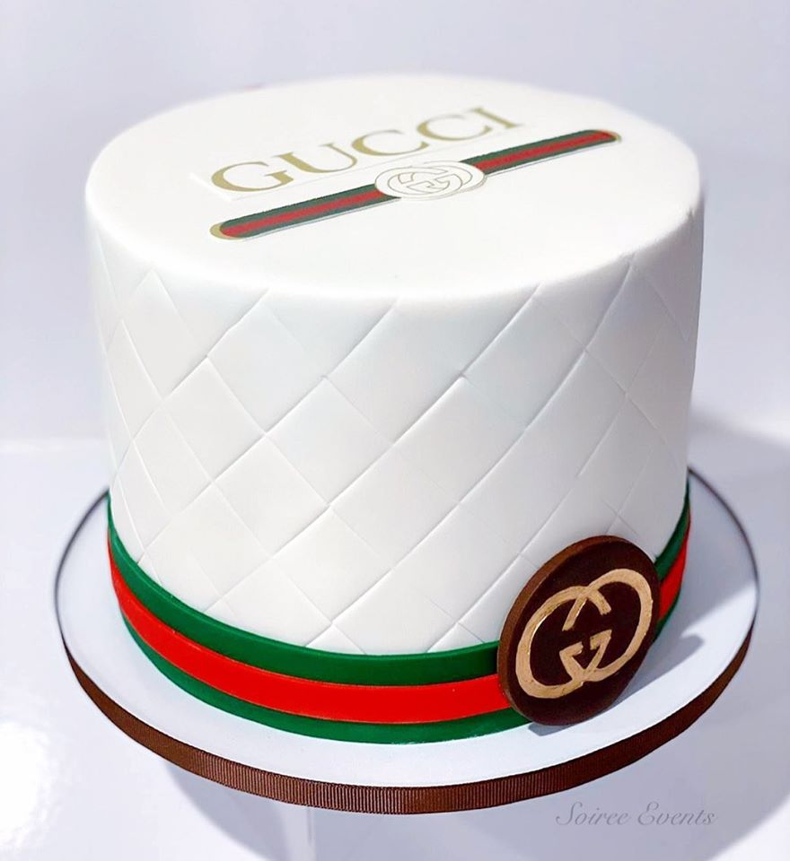 Quilted Gucci Cake With Printed Edible Image Logo Soiree