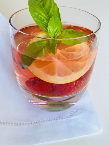 Raspberry Lemon & Basil Rosé Cocktail