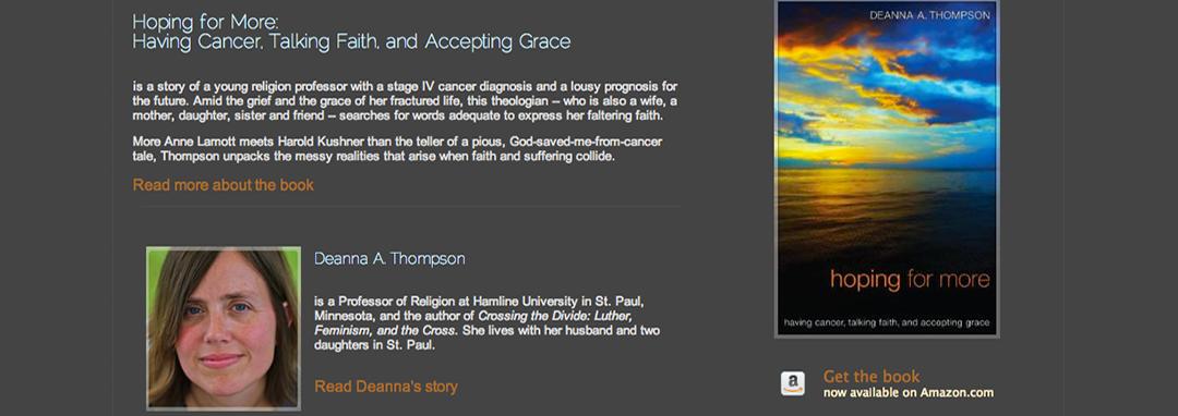 Deanna Thompson, Hoping for More website
