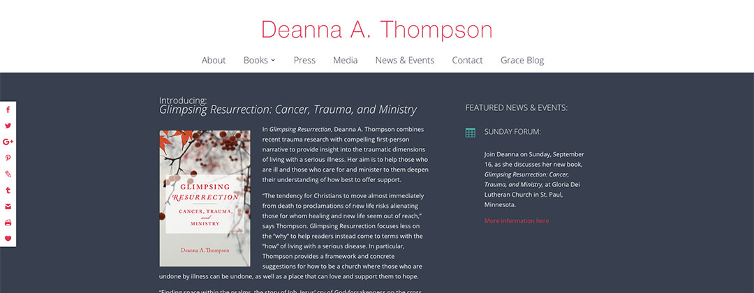Deanna Thompson, Hoping for More website
