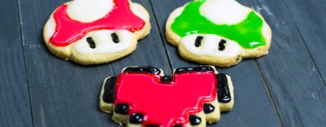 Weihnachtskekse - Pixelherz, Superpilz, 1UP-Pilz