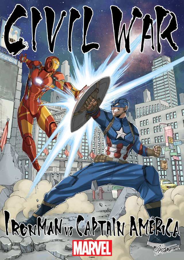 [ENTERTAINMENT] Fairy Tail Mangaka Hiro Mashima Draws Official Illustration for Captain America: Civil War's Japanese Release