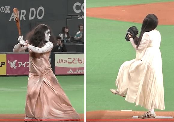[MOVIES] Sadako and Kayako take their rivalry to the Baseball field for ceremonial first pitch
