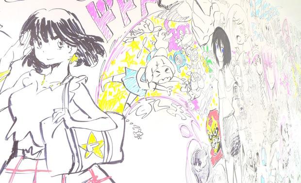 "Studio Trigger staff ""hijacks"" Shibuya PARCO wall and adorns it with graffiti from the series"