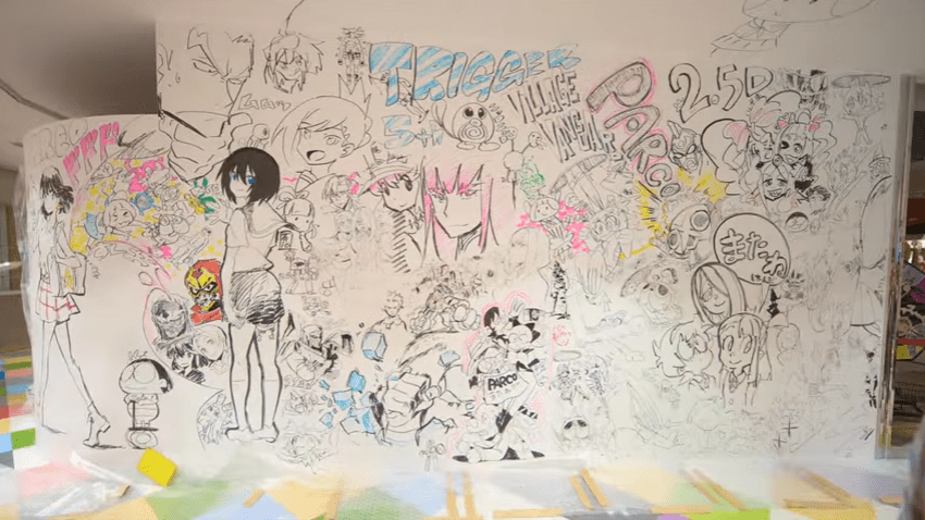 Check out this video of Studio Trigger animators drawing on Japanese department store's walls