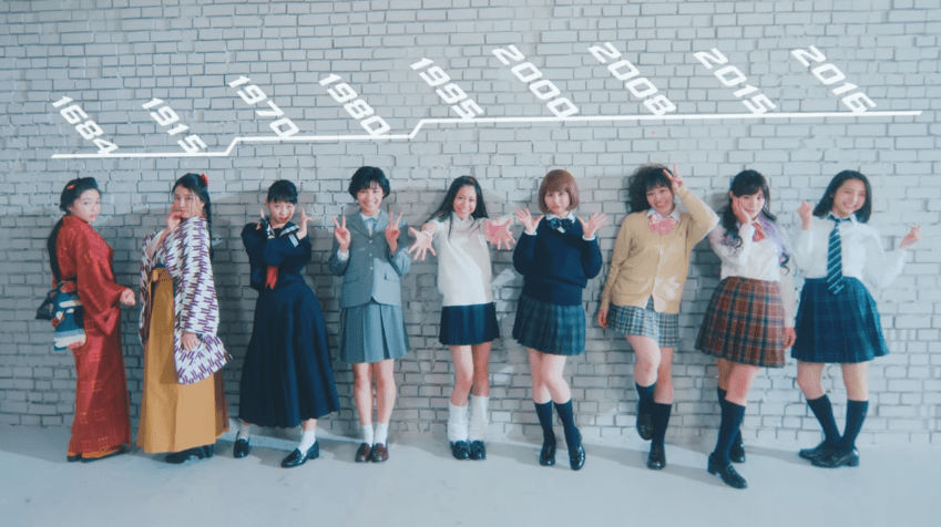 A lesson in Iconic Japanese School Girl Poses by a Japanese idol group