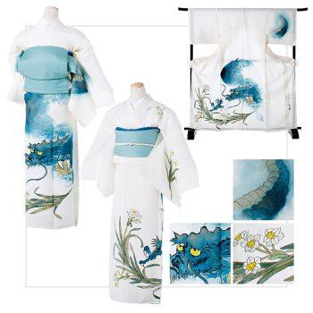 青龍と水仙:着物/¥250,000 帯/参考作品