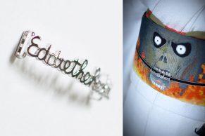 帯留め:エディ・ザ・ヘッド:外部参考作品(ファクトリーザジ) アクセサリー感覚で楽しむ帯留め。この作品は、着物と帯の雰囲気にあわせてオーダー製作したもの。