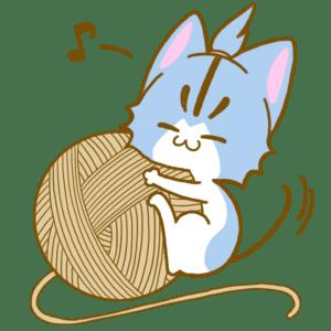 毛糸玉とシアン