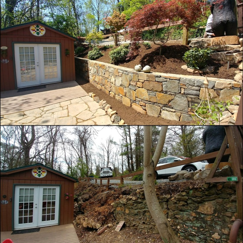 Before and After Retaining Wall Asheville