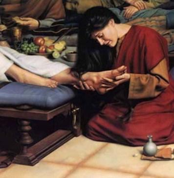 Мария у ног Иисуса Христа