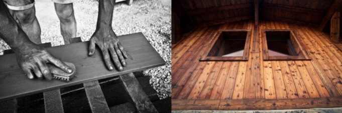 Composition de 2 photos qui montre le procédé du brossage et le résultat final du bois brûlé brossé