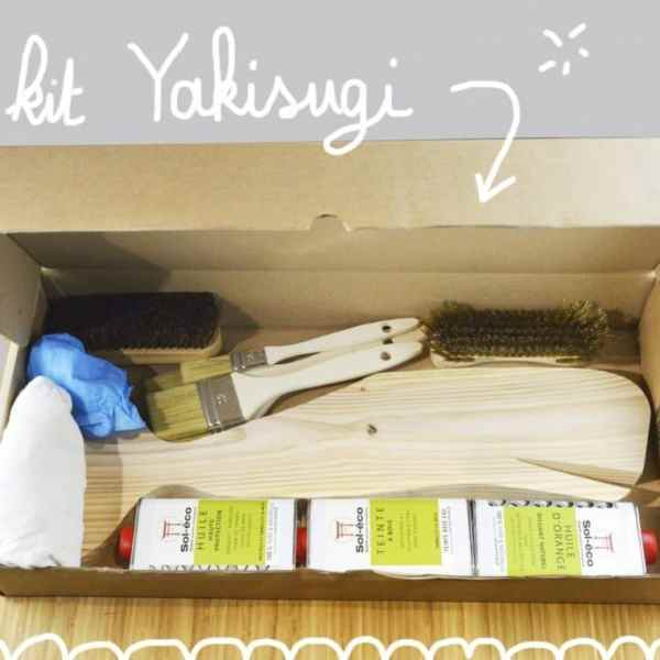 Coffret d'initiation au Yakisugi-shou sugi ban-vue dessus