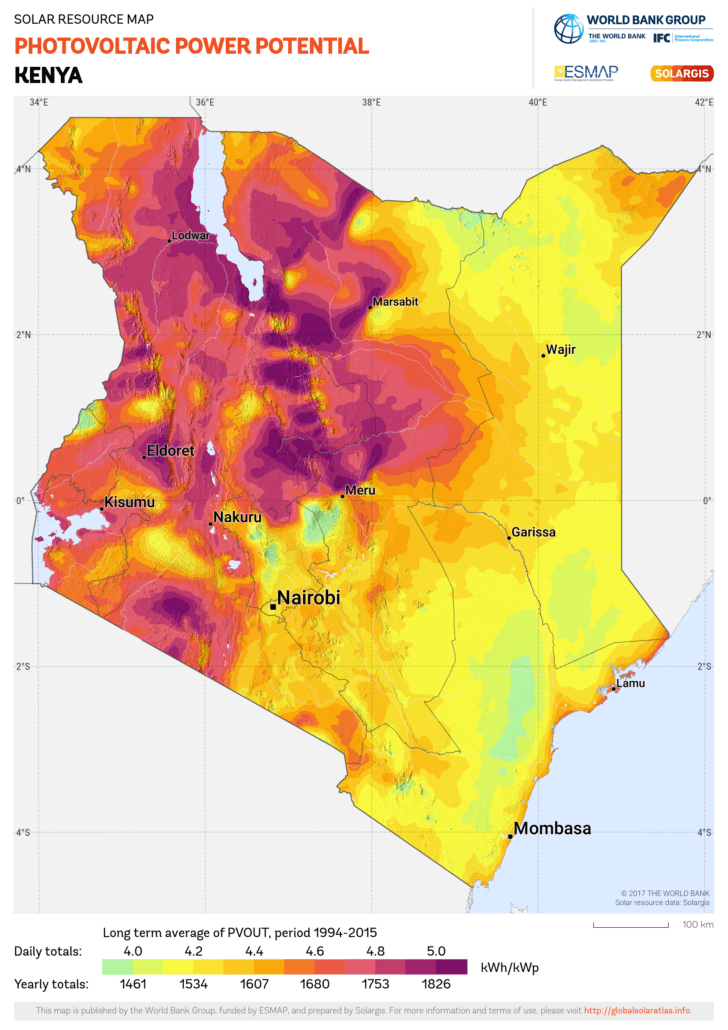 Kenya solar irradiance levels. Source: Global Solar Atlas, owned by the World Bank Group and provided by Solargis.