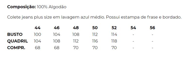 COLETE JEANS STONE USED PUÍDOSESTAMPADO E BORDADO