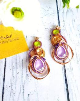 Création Solalbijoux boucles d'oreilles d'or et de rose