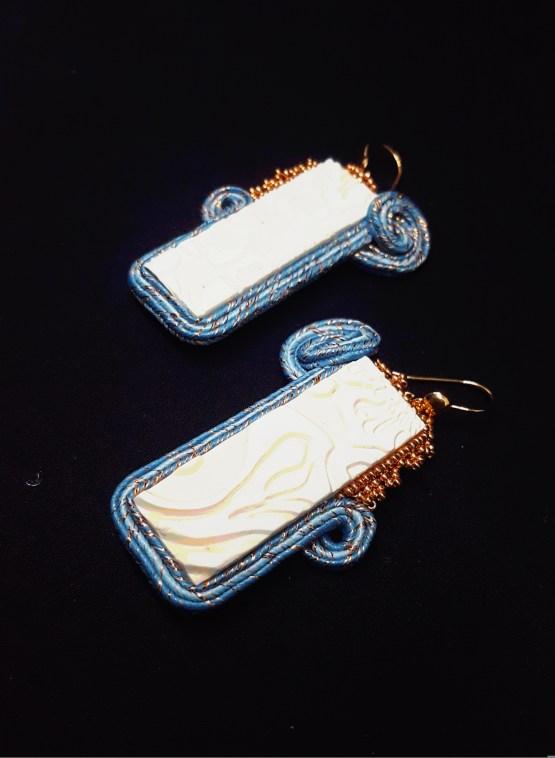 Solal Bijoux haute Fantaisie boucles d'oreilles bleu blanc et doré