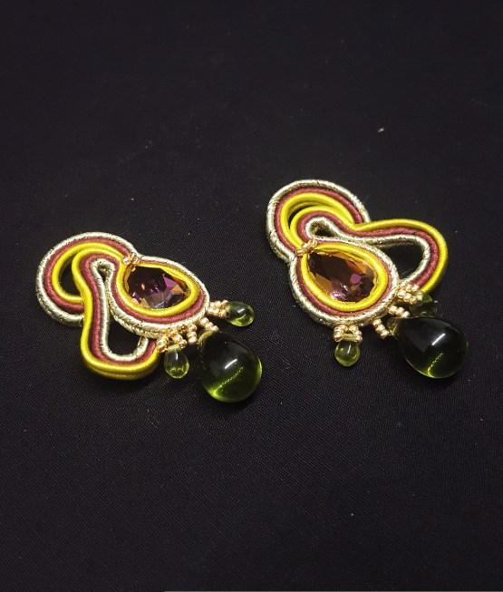 Solal Bijoux Haute Fantaisie boucles d'oreilles bordeau kaki vert anis