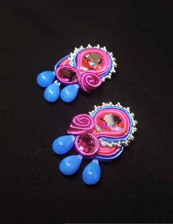 Solal Bijoux Haute Fantaisie boucles d'oreilles bleu fuchsia argent