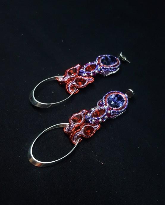 Solal Bijoux Haute Fantaisie boucles d'oreilles mauve et rouge