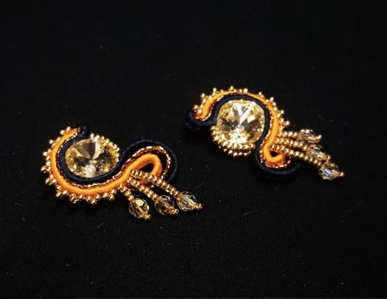 Solal Bijoux Haute Fantaisie boucles d'oreilles clips orange et bleu marine