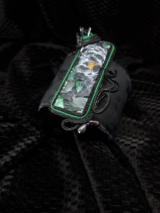 Solal Bijoux Haute Fantaisie manchette avec manchon réversible noir et doré + bijou nomade