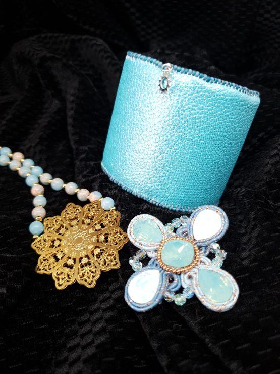Solal Bijoux Haute Fantaisie bijou nomade turquoise et cuivré + collier aimanté de perles + manchette avec manchon réversible