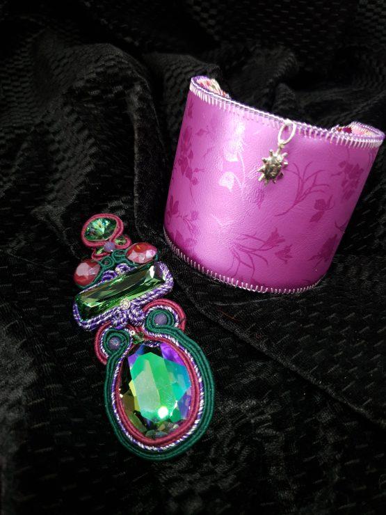 Solal Bijoux Haute Fantaisie bijou nomade mauve et vert + manchette avec manchon réversible