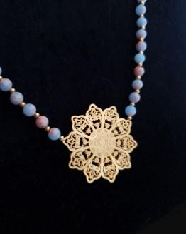 Solal Bijoux Haute Fantaisie collier aimanté de perles en jaspe bleu