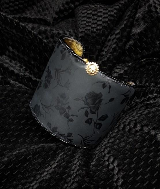 Solal Bijoux Haute Fantaisie manchette avec manchon réversible noir et doré