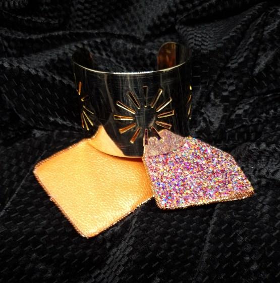 Solal Bijoux Haute Fantaisie Manchette manchon réversible orange et glitter multicouleurs
