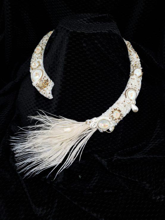 Solal Bijoux Haute Fantaisie collier d'apparat plumes blanc et doré