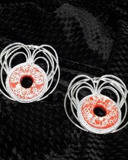 Solal Bijoux Haute Fantaisie Boucles d'oreilles argent et rouge