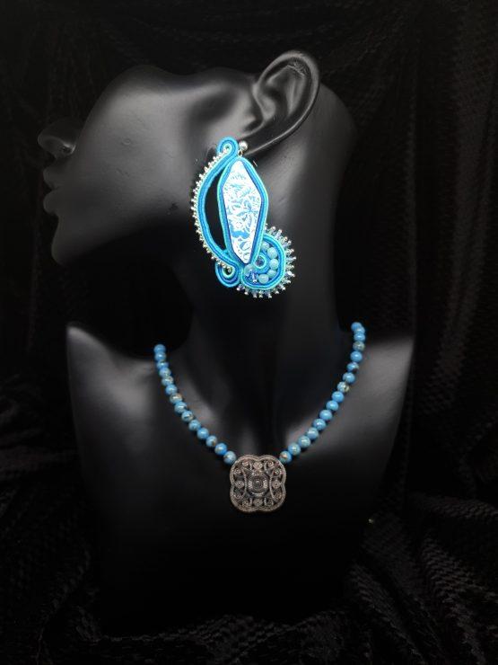 Solal Bijoux Haute Fantaisie boucles d'oreilles bleu vert turquoise argent avec collier en perles de magnésite bleu