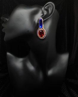 Solal Bijoux Haute Fantaisie boucles d'oreilles rouge bleu et or