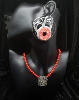 Solal Bijoux Haute Fantaisie boucles d'oreilles argent et rouge avec collier de perles en magnésite rouge