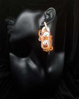 Solal Bijoux Haute Fantaisie boucles d'oreilles blanc orange et rose