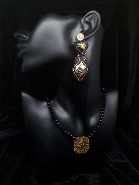 Solal Bijoux Haute Fantaisie boucles d'oreilles noir or et blanc avec collier aimanté