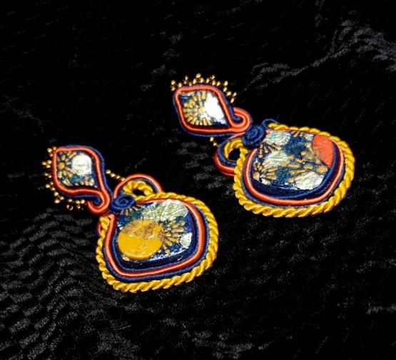 Solal Bijoux Haute Fantaisie boucles d'oreilles bleu marine et ocres