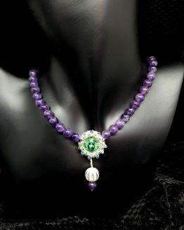 Collier en cristaux swarovski et rocailles brodés avec perles en améthyste Solal Bijoux Haute Fantaisie