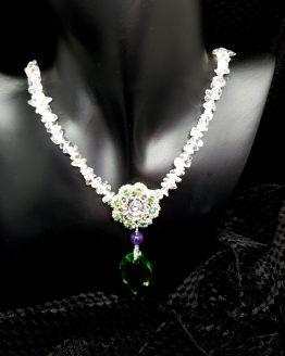 Collier en cristaux swarovski et rocailles brodés avec perles en cristal de roche Solal Bijoux Haute Fantaisie
