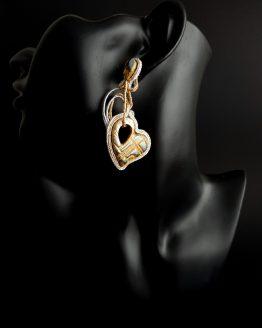 Boucles d'oreilles dorées et argentées Solal Bijoux Haute Fantaisie