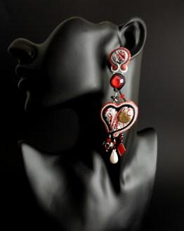 Boucles d'oreilles rouge blanc noir Solal Bijoux Haute Fantaisie